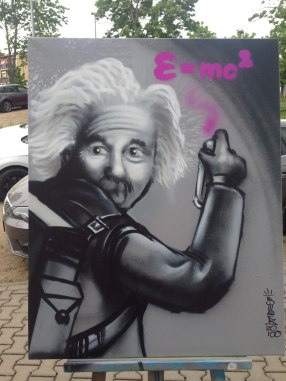 Einstein, 80 x 60 cm, 2018, Spraycan on canvas