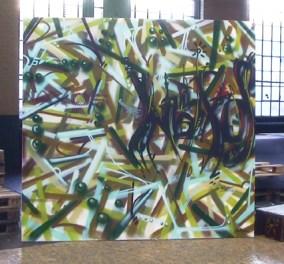 Naxos, spraycan on canvas, 2006, 200 x 200 cm. Lost