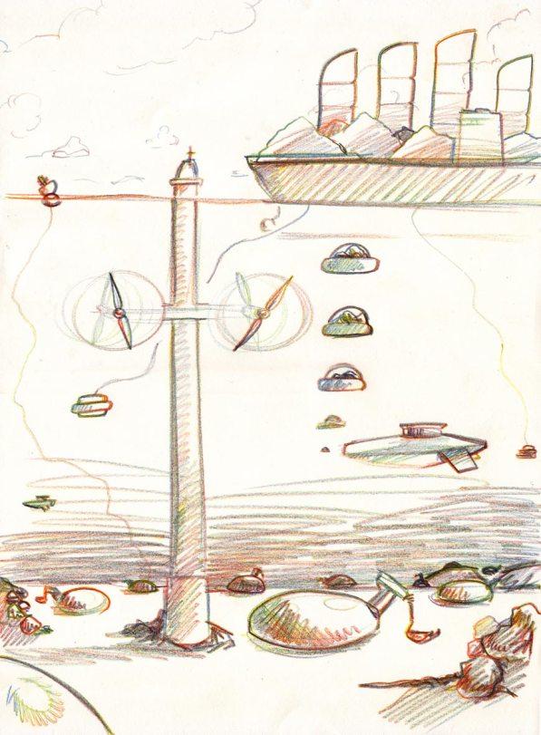 Seaway Strichzeichnung für Fraunhofer Waterborne Visionen, Fraunhofer-Allianz Verkehr, 2012