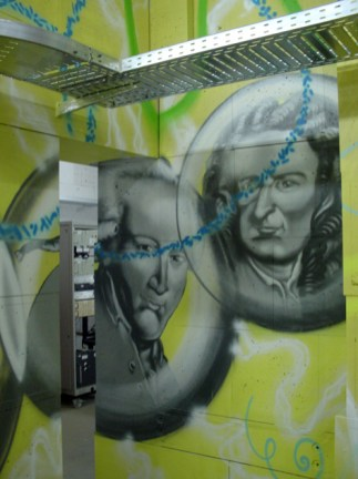 Wandgestaltung Teilchenbeschleuniger, II. physikalisches Institut, Göttingen 2004