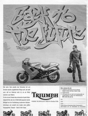 Back to the future style, Anzeige AD Triumph 1992