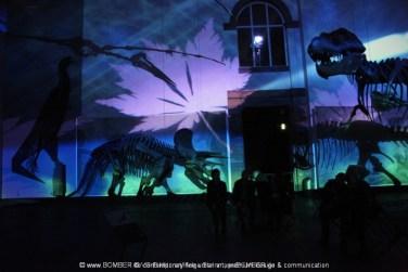 »Saurierhalle« Bomber feat. Lichtfaktor & Alice Rose, LumaPaint Station @ Bomber LuxUs,Senckenbergmuseum Saurierhalle Luminale Frankfurt 2014