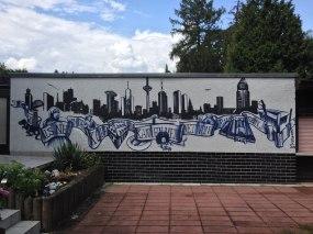 Skyline Frankfurt mit Banderole und Frankfurt-Motiven, Steinbach 2019