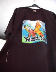 Be Cool Fool 10 farbig gerastertes T-Shirt gerakelt (Siebdruck) Coca Cola Coke Fridge 2005