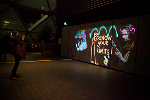know your limits Winter Lights Luma Paint Light Graffiti @ canary wharf, London 2018