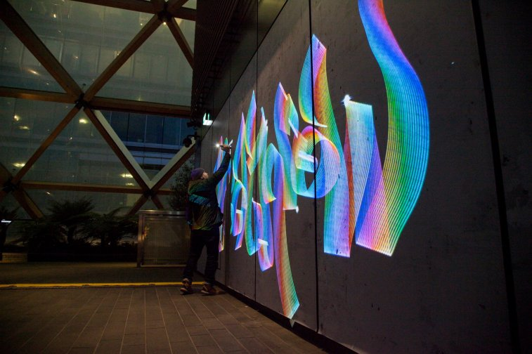 Heathrow Style Winter Lights Luma Paint Light Graffiti @ canary wharf, London 2018