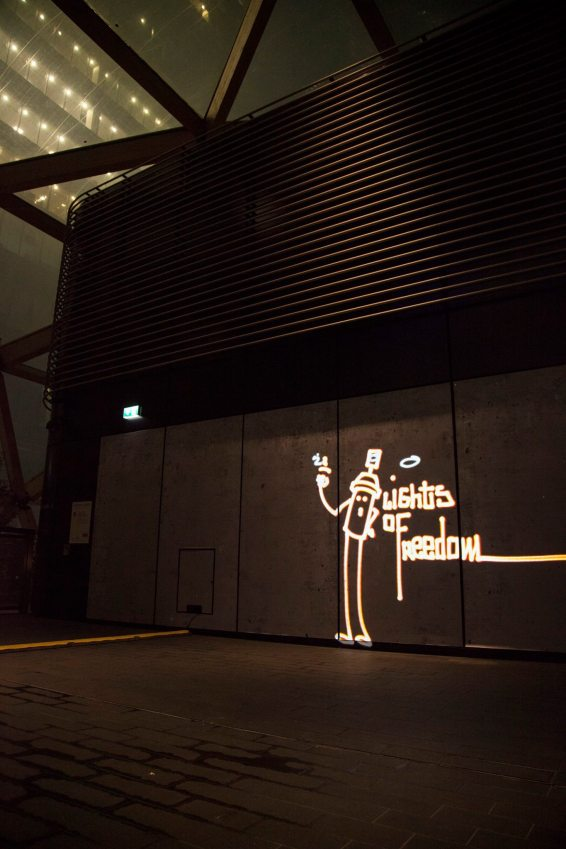 Lights of freedom Winter Lights Luma Paint Light Graffiti @ canary wharf, London 2018