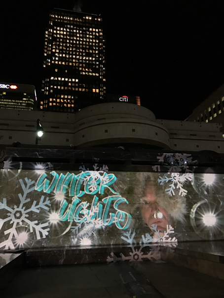 Winter Lights Luma Paint Public Light Graffiti as Lightpainting, London Winter Lights, Canary Wharf, 2017
