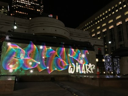 Canary Wharf Luma Paint Public Light Graffiti as Lightpainting, London Winter Lights, Canary Wharf, 2017