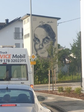 Ludwig Meidner Selbstportrait 1955 Street Art Graffiti Marxheim 2021