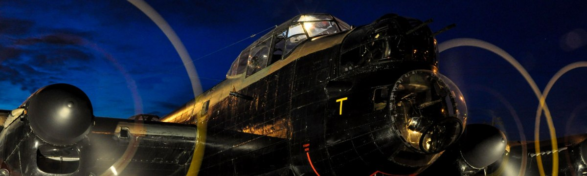 Close up photo of the Lancaster Running at Night