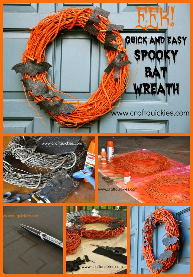 This bat wreath is perfect for Halloween!  Super cute, super cheap and simple, and even weatherproof!