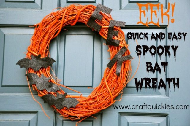 These fun and simple spooky bat wreath is sure to make a spooky splash this Halloween!