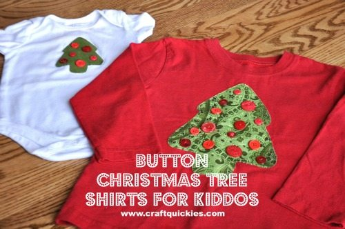 Button Christmas Tree Shirts for Kiddos from Craft Quickies