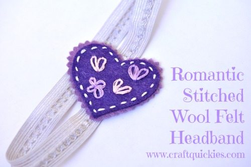 I love this sweet romantic stitched wool felt headband! Come see the simple tutorial.