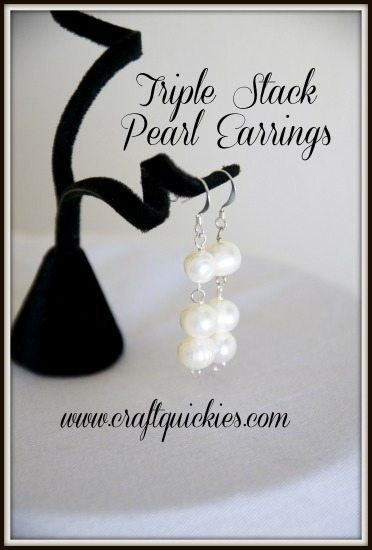 Triple Stack Pearl Earrings from Craft Quickies - So beautiful for a bride or for a Mother's Day gift!