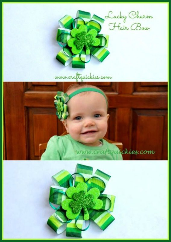 Make a lucky charm hair bow for St. Patrick's Day using this simple tutorial from Bombshell Bling.  Perfect for any adorable little leprechaun in your life!