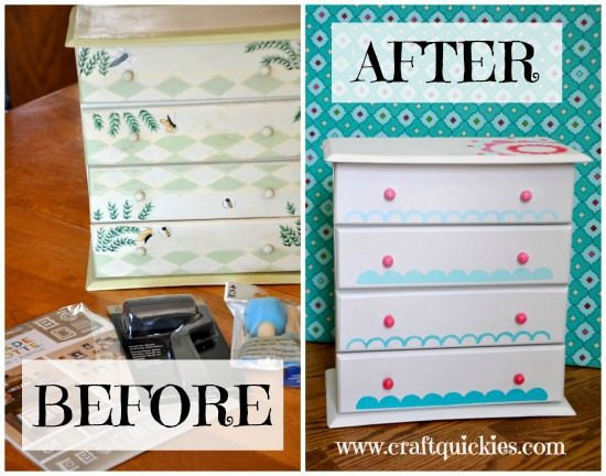 Painting a Sweet Miniature Dresser with Handmade Charlotte Stencils Before and After Shots