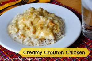 This recipe is crazy simple and so yummy! It comes together so quickly! - Creamy Crouton Chicken from Craft Quickies