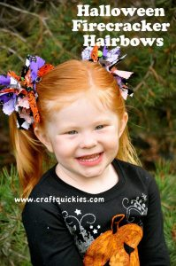 girl wearing Halloween Firecracker Hairbows