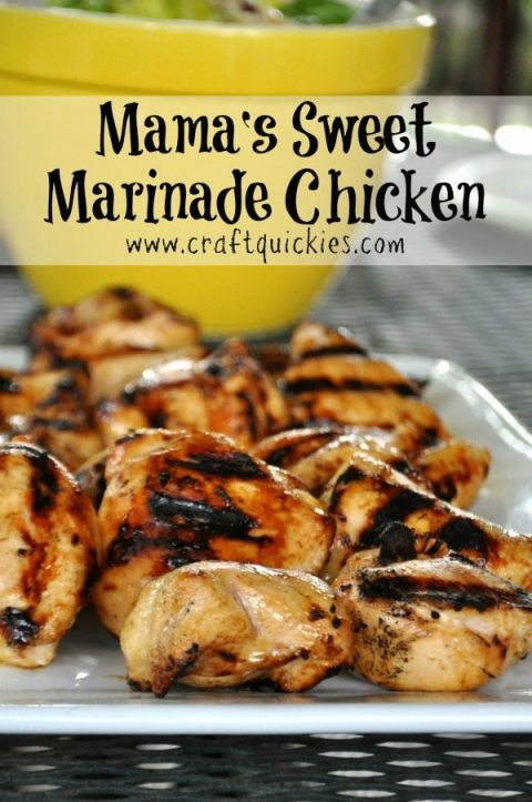 This sweet chicken marinade is so simply and delcious! It is the blogger's go-to company recipe!