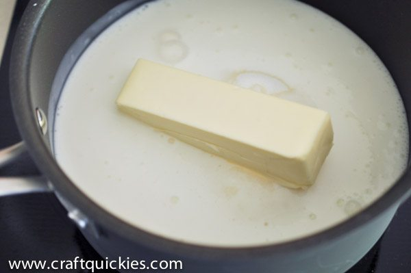 butter for buttermilk syrup melting in pan