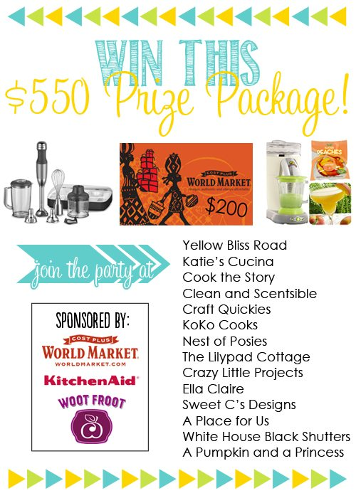 Amazing giveaway valued at $550!!  Sponsored by KitchenAid, Woot Froot, and World Market!