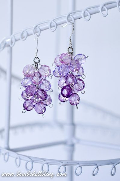 Ombre earrings on stand