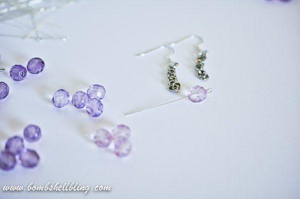 Eyepin in bead for ombre earrings