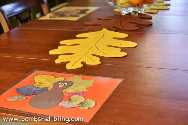Make a silly turkey leaf placemat with your little one using fall leaves!