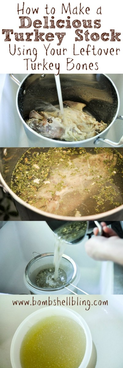 Use the leftover bones from your Thanksgiving turkey to make a hearty and delicious turkey stock! This turkey stock recipe is simple and delicious.