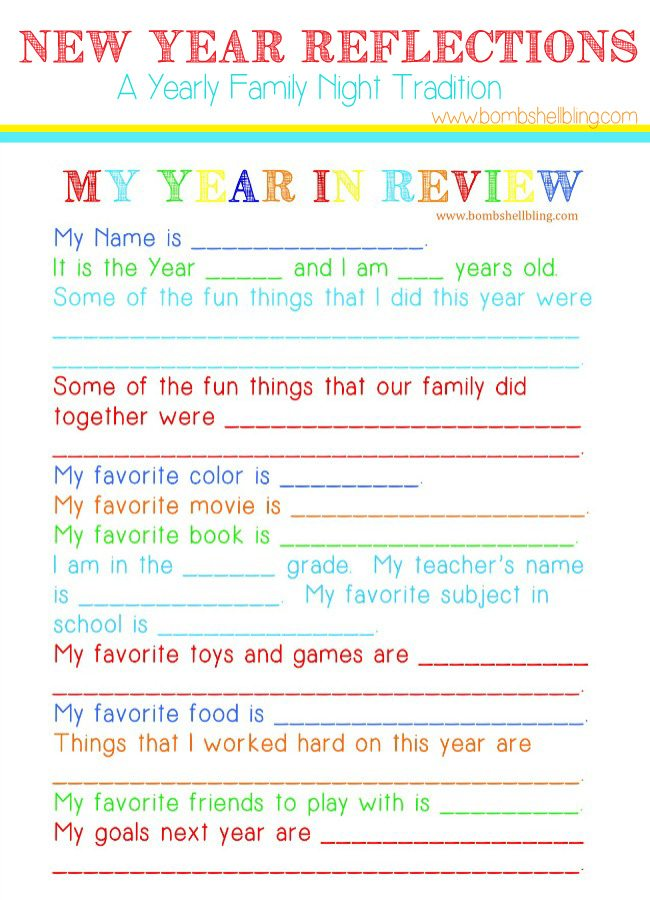 New Year Reflections is a great way to look back on the year and make goals for the new one. Every year your family can fill out these sheets as a family night tradition. Fun free printables make it easy!