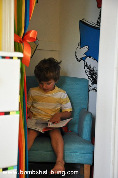 "I love this idea!  Turn a walk-in closet into a ""secret"" reading nook!"