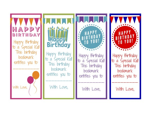 Birthday Bookmarks