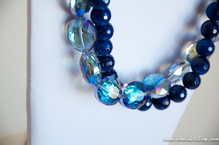 Blue Twist Necklace on stand
