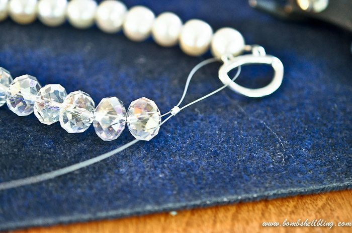 crystal and pearl necklace adding findings