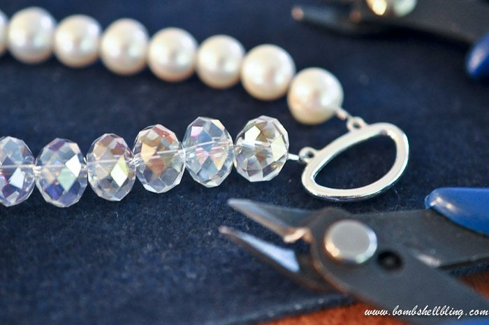 crystal and pearl necklace adding clasp