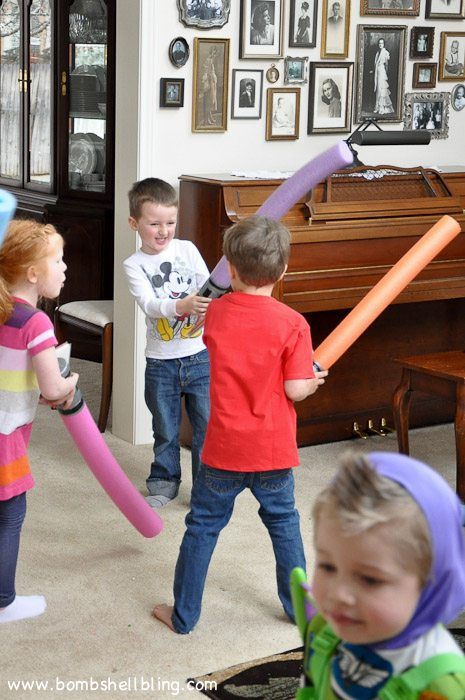 Pool noodle light sabers are perfect for a Star Wars birthday party!