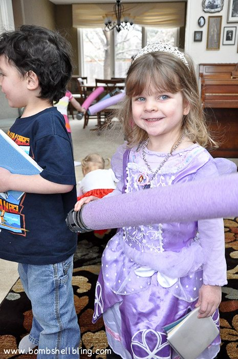 Girl in purple at disney birthday party