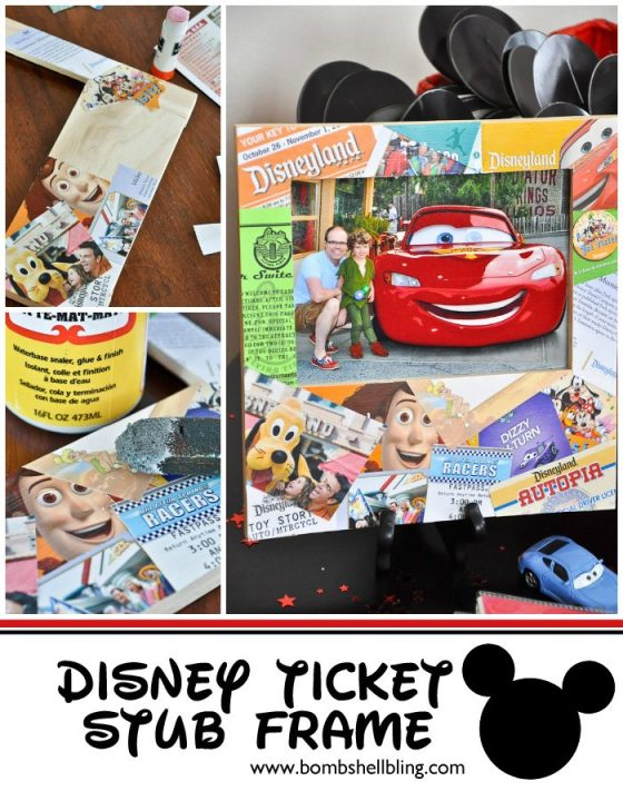 Ok, I LOVE this idea!! Use your Disney ticket stubs, maps, and other memorabilia to create a one-of-a-kind frame after your vacay!