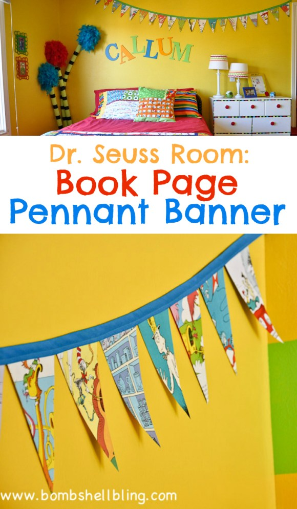 Dr Seuss Book Page Pennant Banner