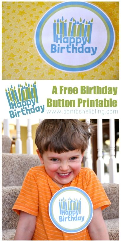 Free Happy Birthday Button Printable