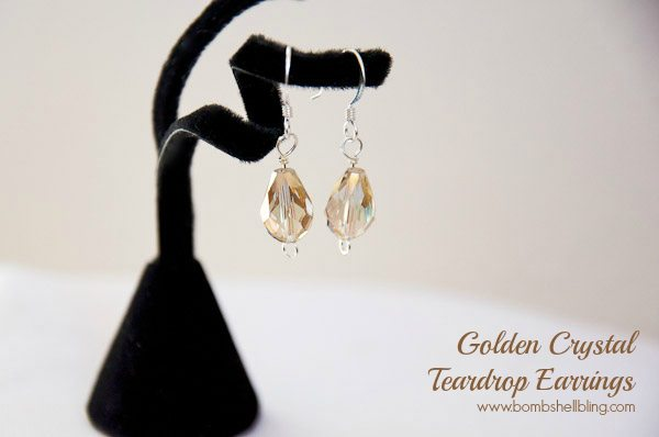 Gold Crystal Teardrop Earrings Tutorial