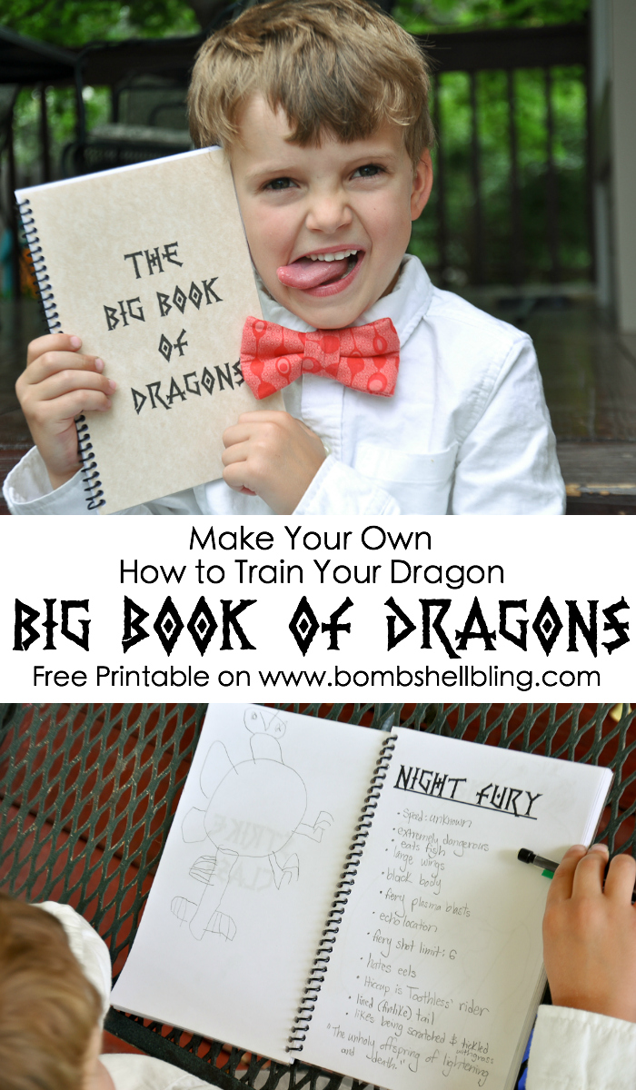 Make Your Own How to Train Your Dragon Big Book of Dragons - Free Printable on Bombshell Bling