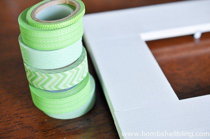 Green washi tape next to white frame