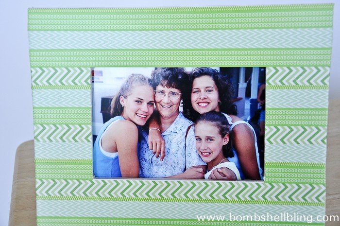 Green washi tape frame close up photo