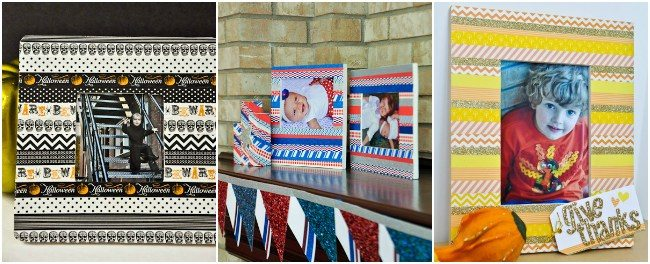 Collage of three ways to washi tape frame
