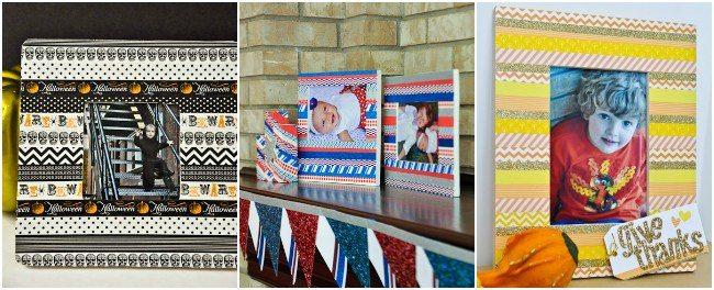 Collage of three ways to washi tape frame