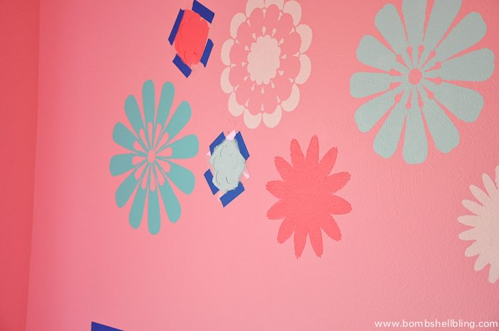 Love these flower stencils -- perfect for a nursery wall!
