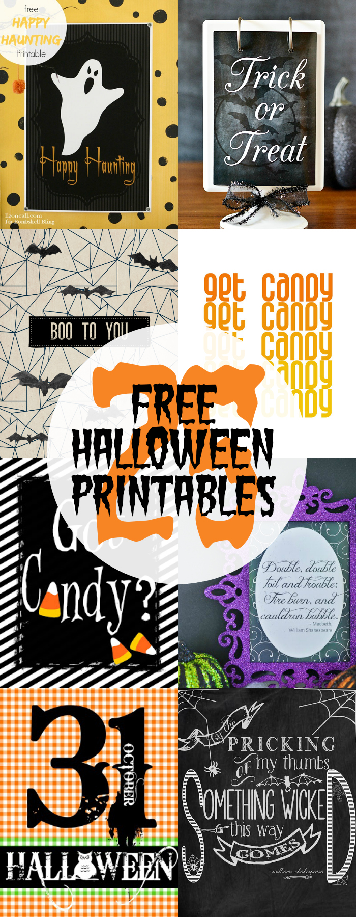 Halloween Printables pin collage